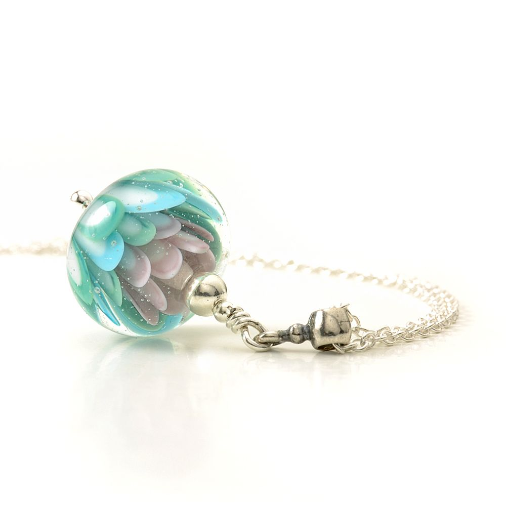 Pastels Lampwork Glass Flower Pendant Necklace