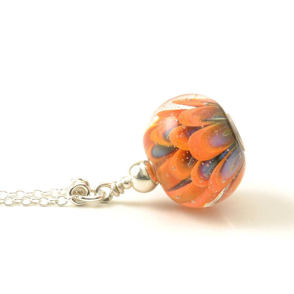 Pumpkin Flower Lampwork Glass and Silver Necklace