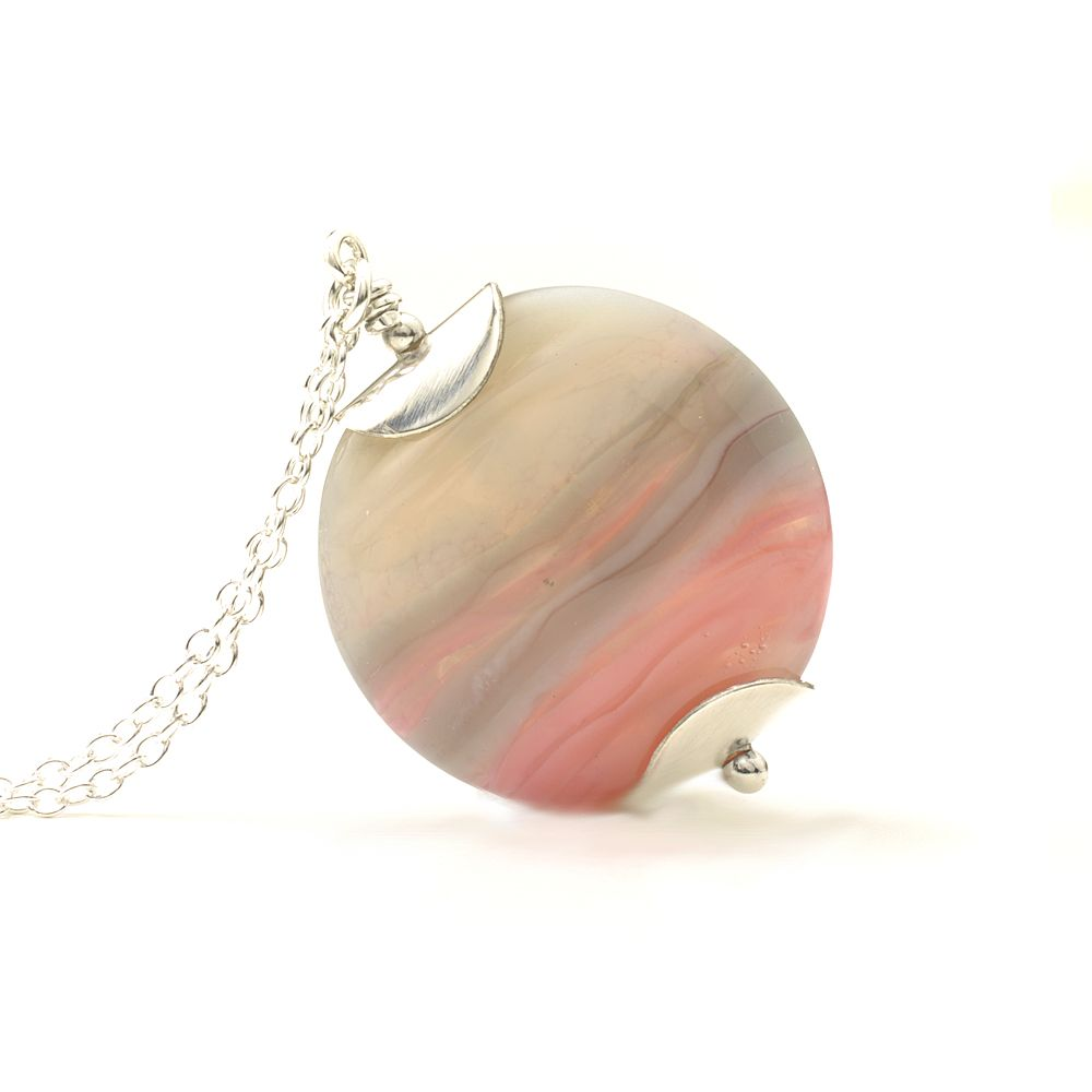 Misty Pink Lampwork Glass Necklace