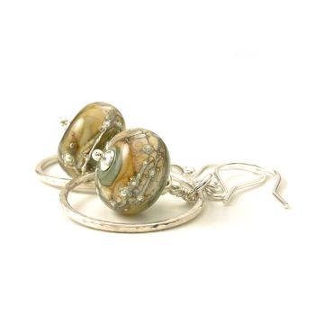 Khaki Glass and Silver Hoop Earrings