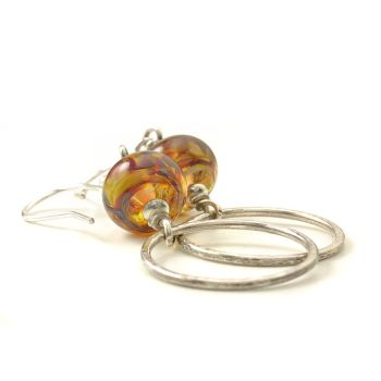 Autumn Fire Glass and Silver Hoop Earrings
