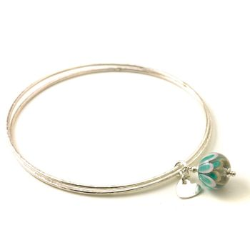 Pink and Teal Petal Sterling Silver Charm Bangles