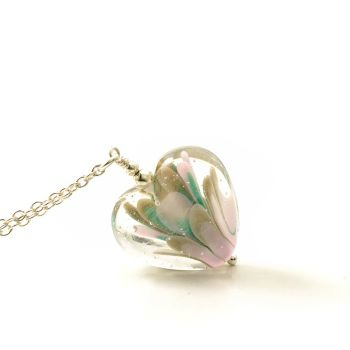 Pink and Teal Lampwork Glass Heart Necklace
