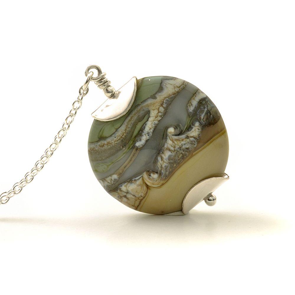 Khaki Sand Lampwork Glass Necklace