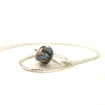 Blue and Grey Glass Petal Necklace with Hammered Silver Hoop