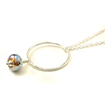 Metallic Lampwork Glass and Silver Hoop Necklace