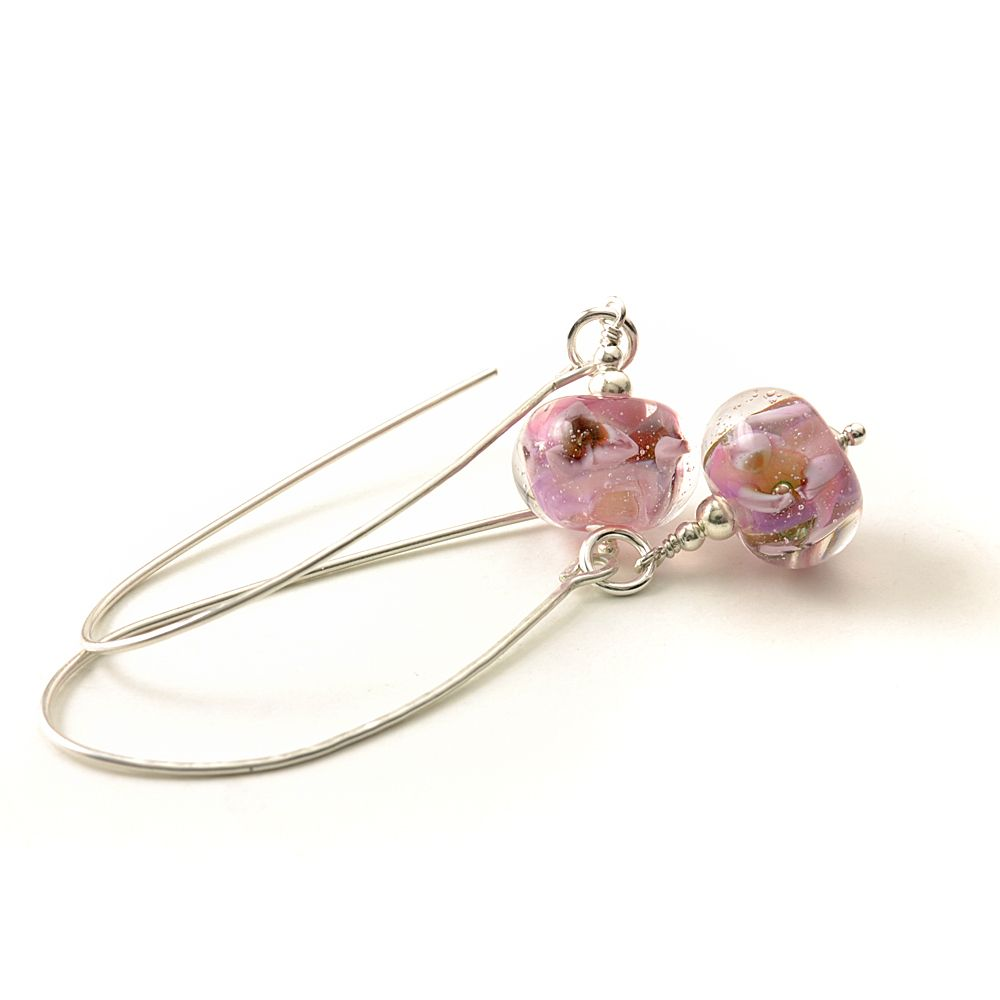 Pink Long Length Lampwork Glass Earrings