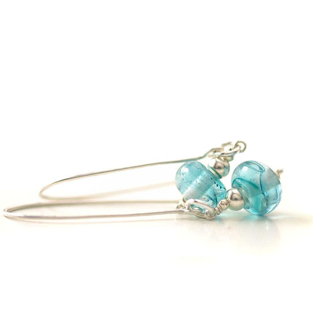 Pale Aqua Long Length Lampwork Glass Earrings