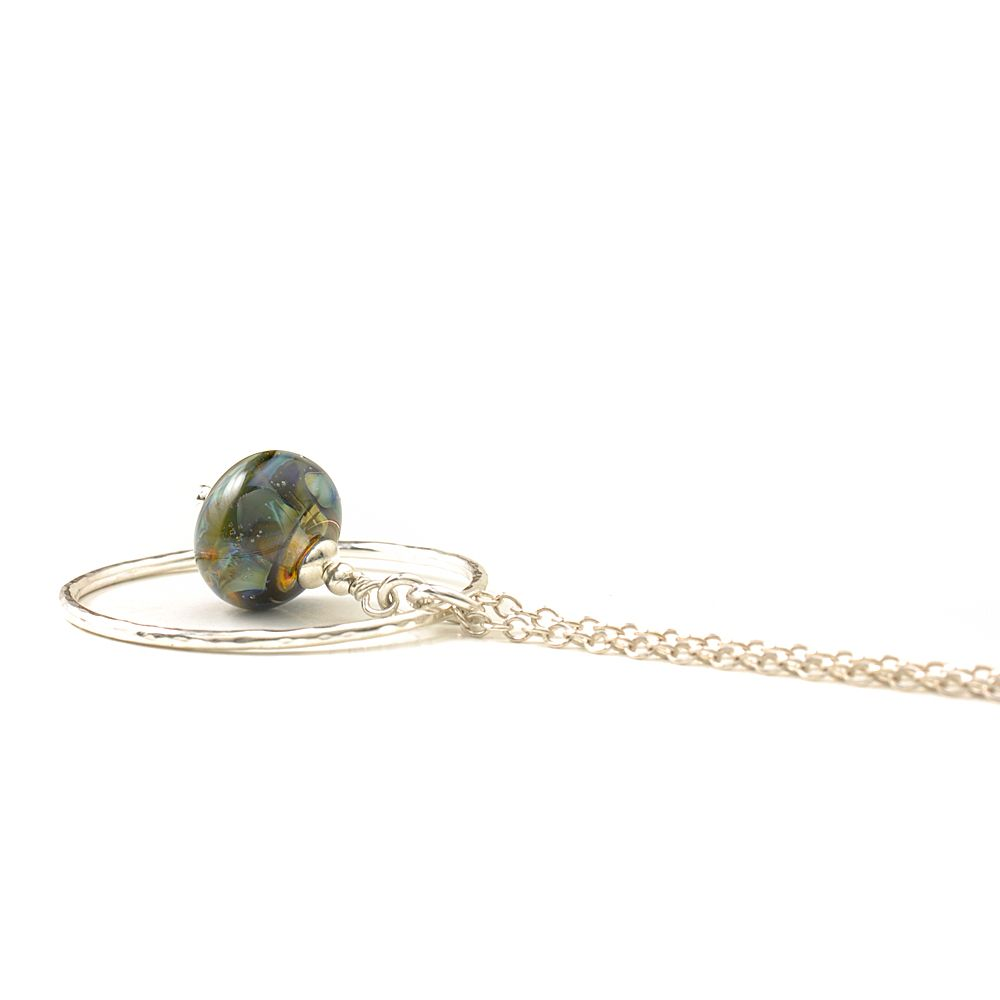 Deep Blue Green Lampwork Glass and Silver Hoop Necklace