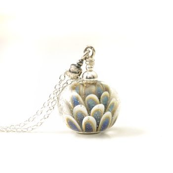 Small Blue Daisy Lampwork Glass Necklace