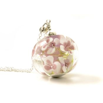 Pink Posey Glass Flower Necklace