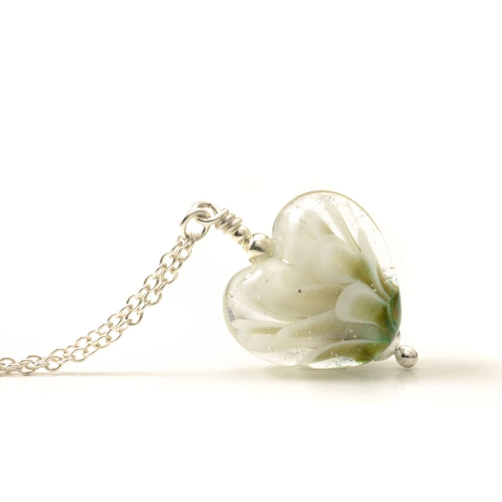 Lily Heart Lampwork Glass Necklace