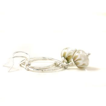 White and Gold Petal Drop and Silver Hoop Earrings