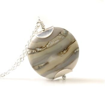 Soft Grey Lampwork Glass Pendant Necklace