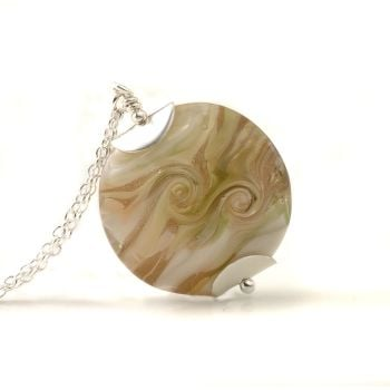 Golden Peach Lampwork Glass Pendant Necklace