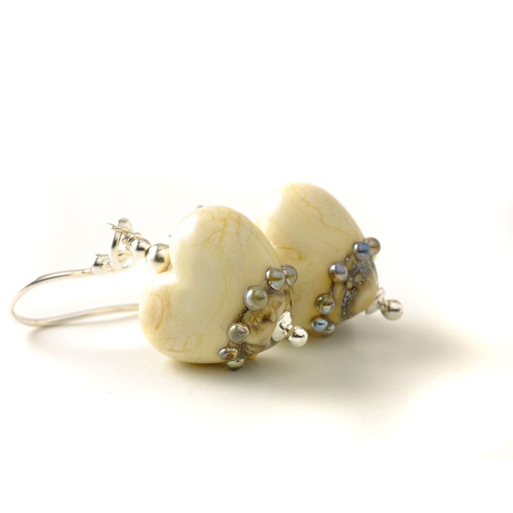 Lampwork Glass Heart Earrings