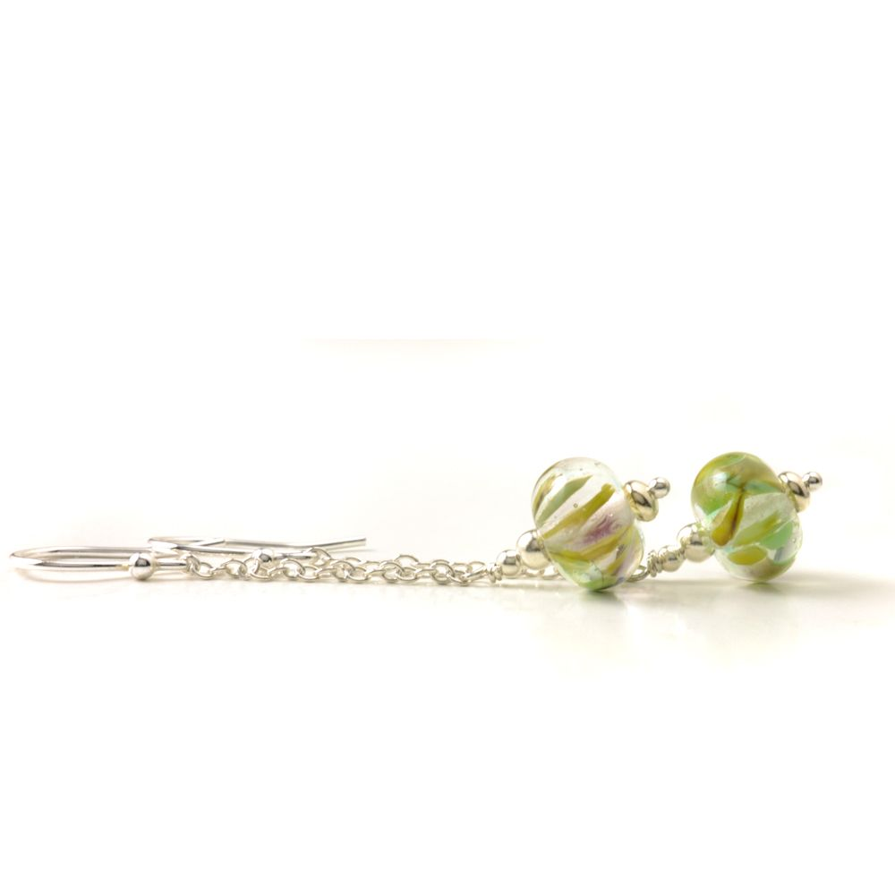 Chain Drop Lampwork Glass Earrings