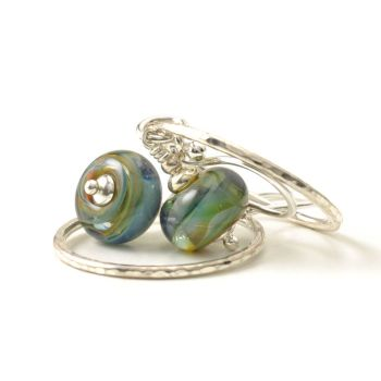 Deep Blue Green Glass and Silver Hoop Earrings