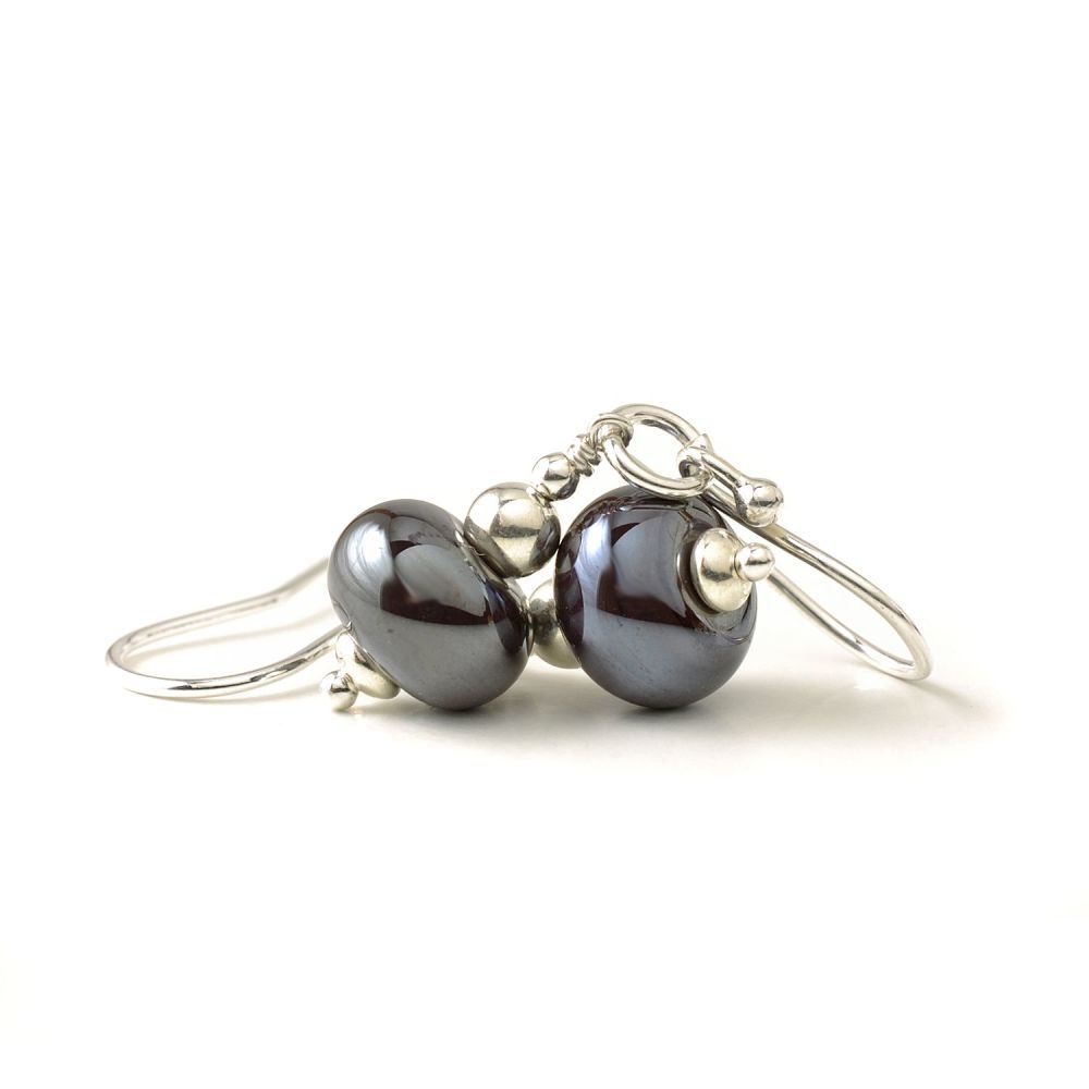 Dark Metallic Glass Earrings