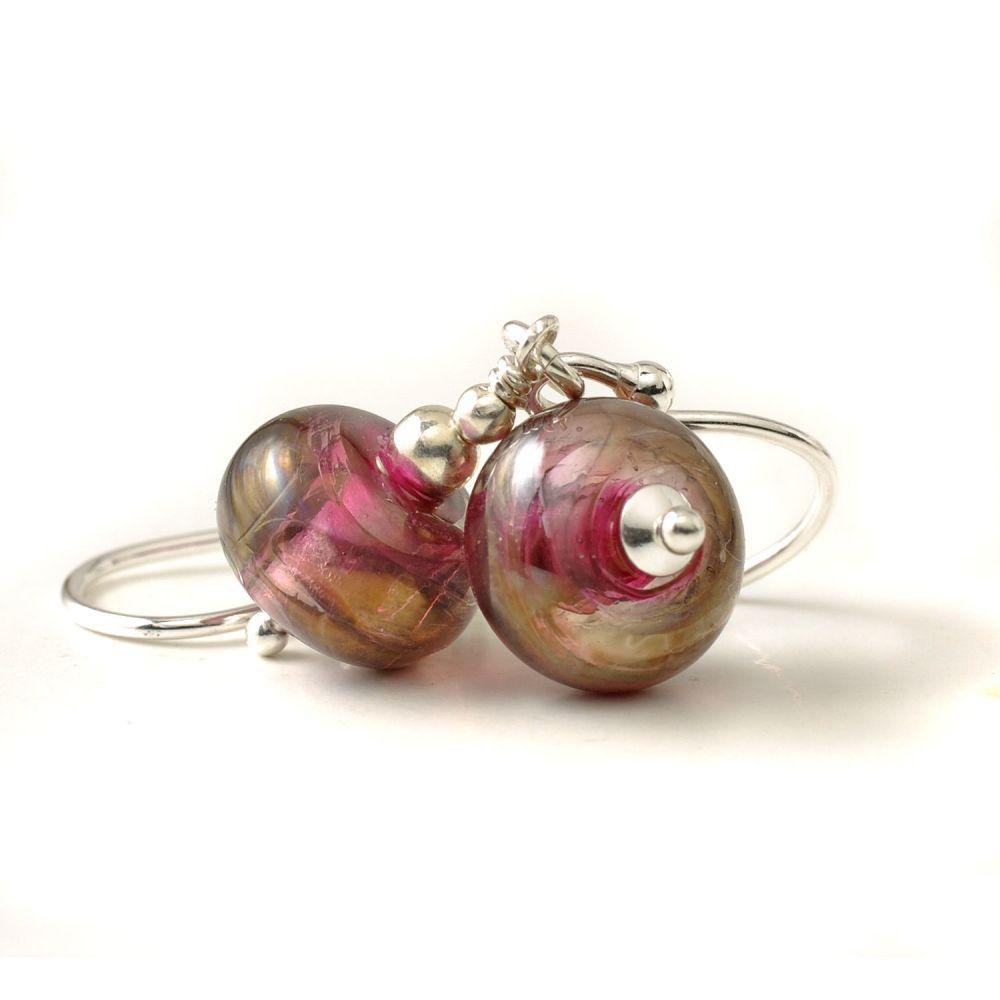 Berry Bronze Lampwork Glass Earrings