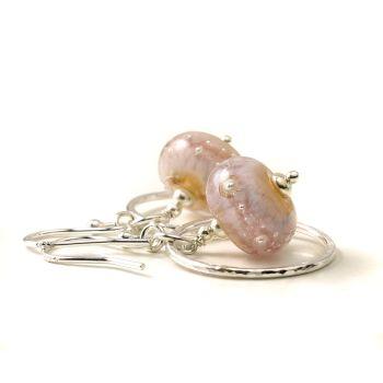 Pale Pink Glass and Silver Hoop Earrings