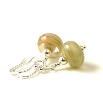 Spring Peach Lampwork Glass Earrings