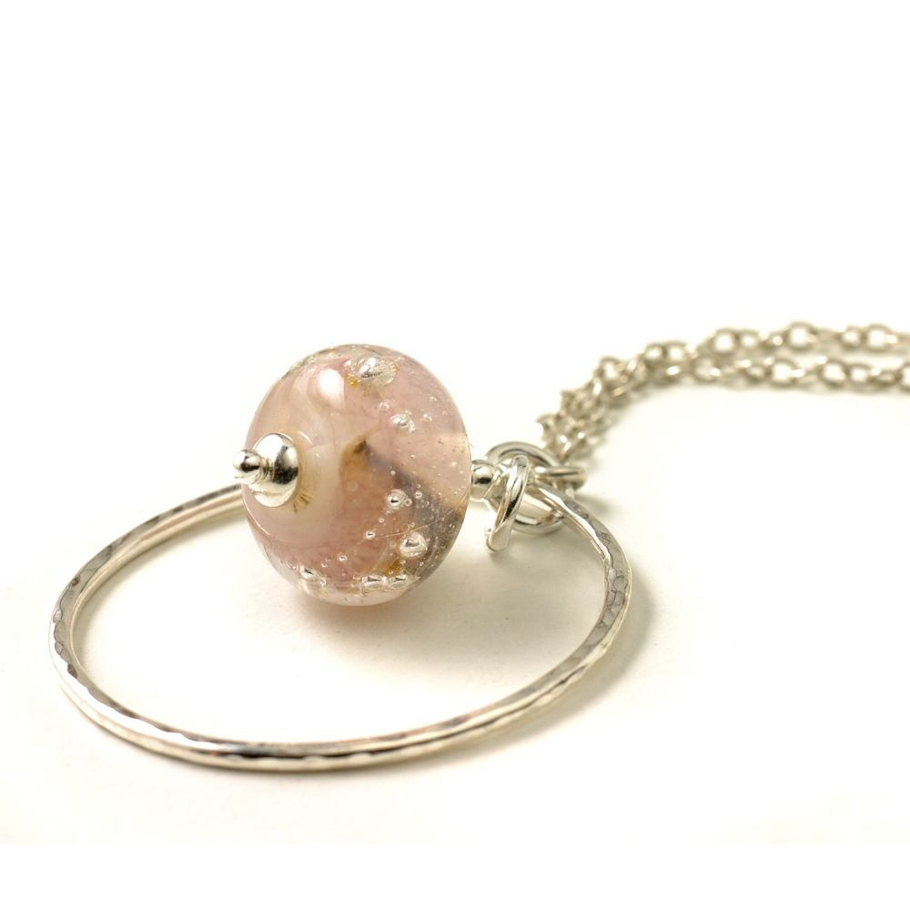 Pale Pink Lampwork Glass and Silver Hoop Necklace