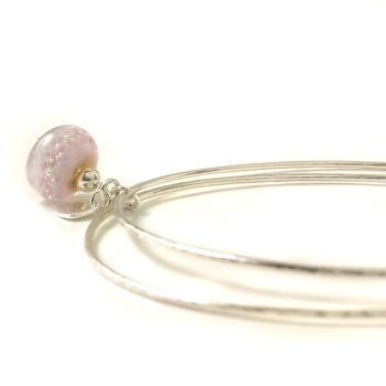 Lilac Pink Sterling Silver Charm Bangles