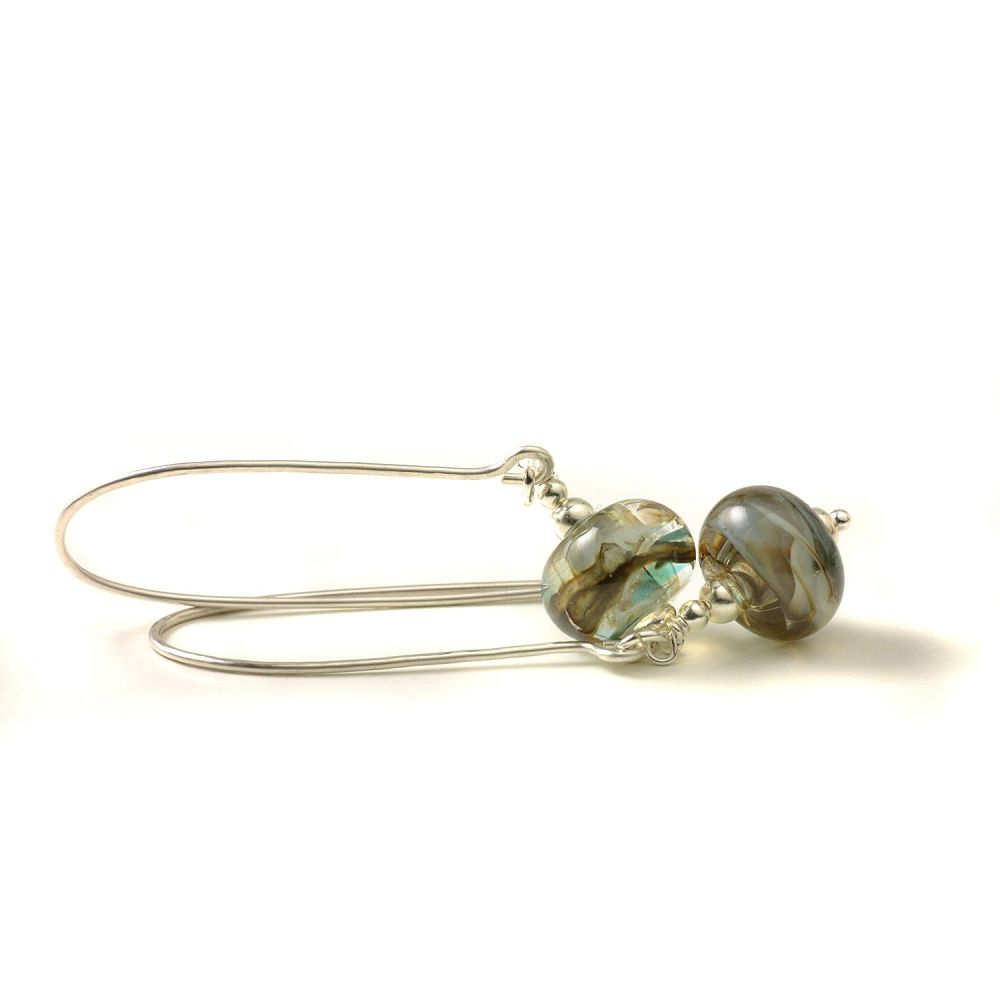 Stormy Grey Long Length Lampwork Glass Earrings