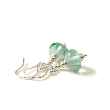 Pale Aqua Lampwork Glass Earrings