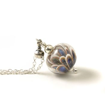Blue and White Small Glass Petal Pendant