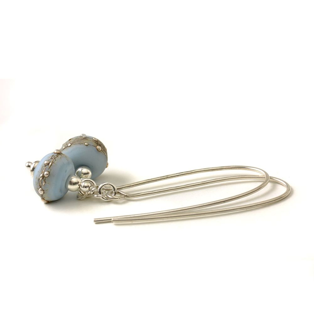 Periwinkle Blue Long Length Lampwork Glass Earrings