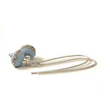 Periwinkle Blue Long Length Lampwork Glass Earrings