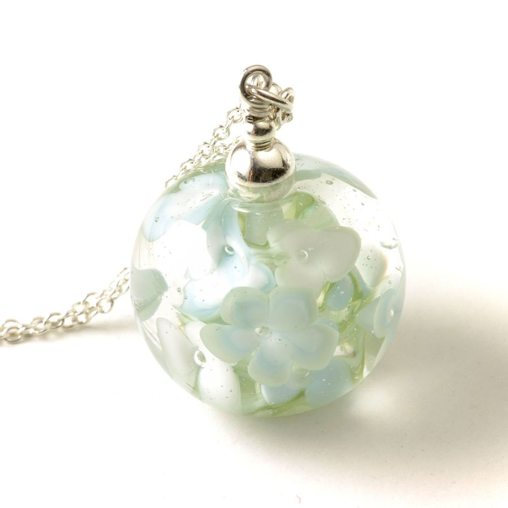 Pale Blossom Glass Flower Necklace