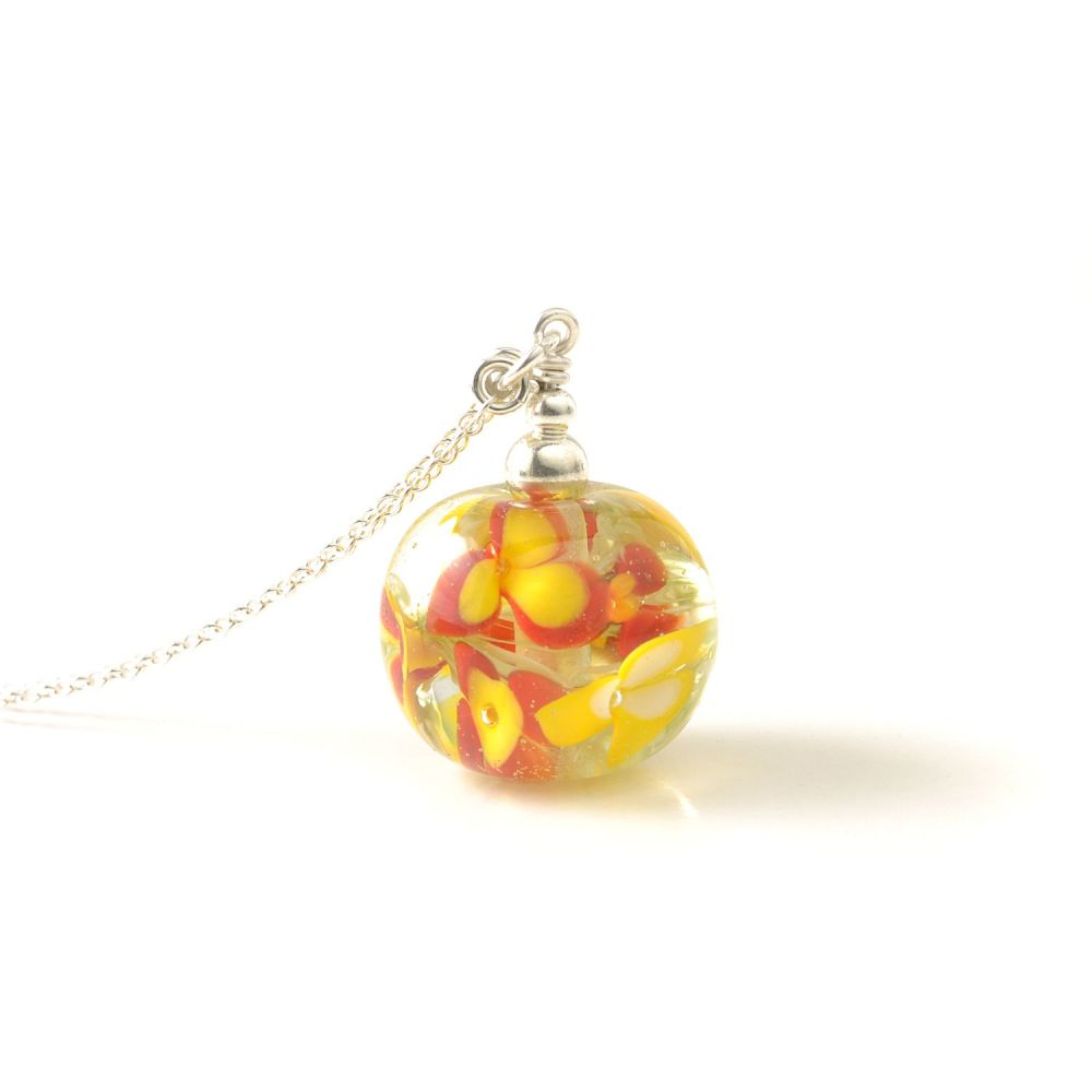 Red and Yellow Glass Flower Necklace