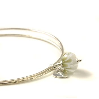 Snowdrop Petal Sterling Silver Charm Bangles