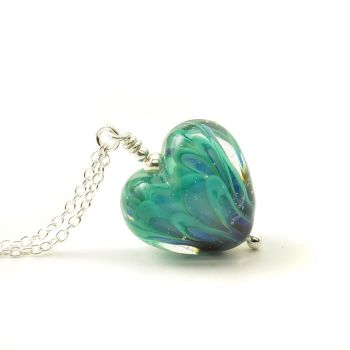 Peacock Feather Lampwork Glass Heart Necklace