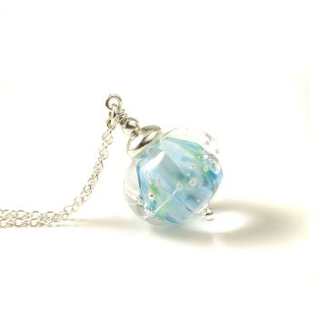 Silver Blue Lampwork Glass Necklace