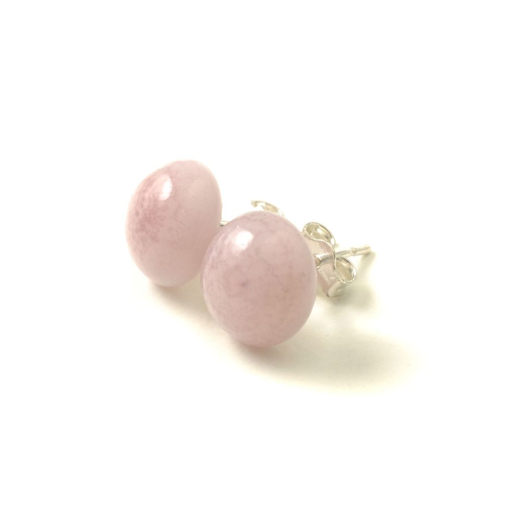 Dusky Pink Glass Stud Earrings