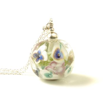 Blue Pansy Glass Flower Necklace