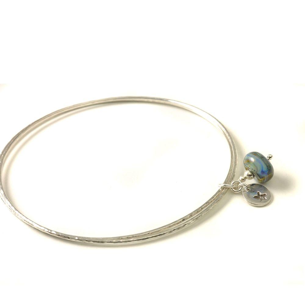Deep Blue Sterling Silver Charm Bangles