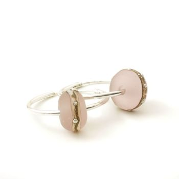 Blush Pink Silvered Glass and Sterling Silver Hoop Earrings