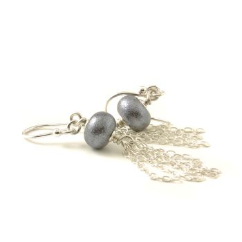 Gunmetal Grey Tassle Earrings