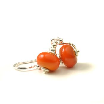 Pumpkin Orange Glass Earrings