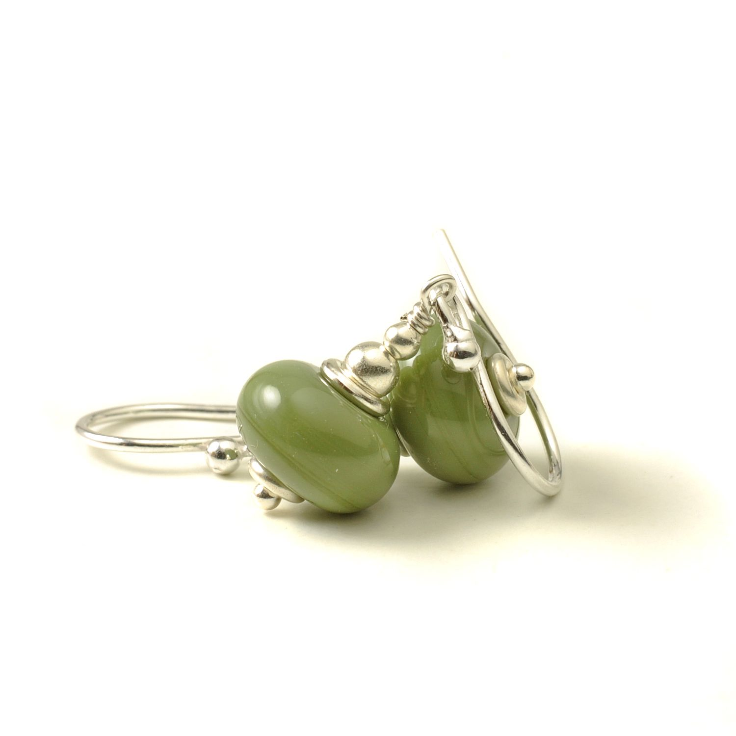Olive Green Lampwork Glass Earrings