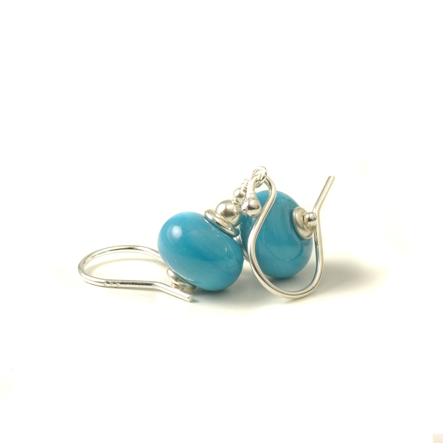 Turquoise Blue Lampwork Glass Earrings