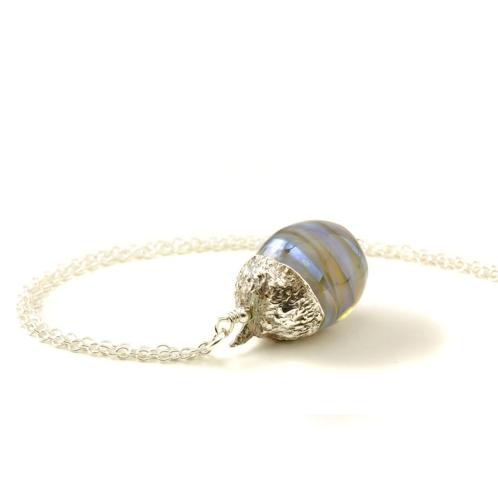 Silver and Blue Glass Acorn Necklace #02