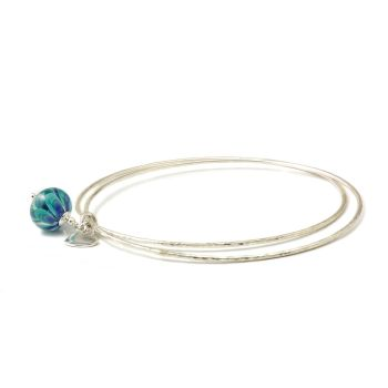 Peacock Petal Sterling Silver Charm Bangles