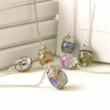 (WS) Silver and Glass Acorn Necklaces