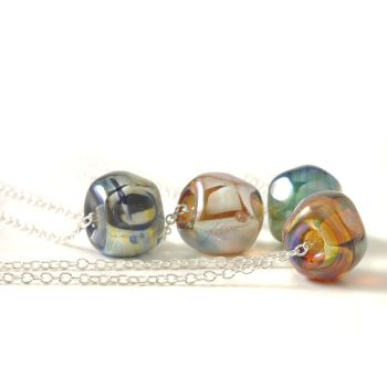 (WS) Metallic Glass Nugget Necklaces